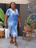 Denim Friendly Tie Dye Keyhole Dress - Plus - 1
