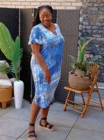 Denim Friendly Tie Dye Keyhole Dress - Plus - 3