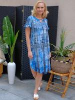 Denim Friendly Tie Dye Keyhole Dress - 1