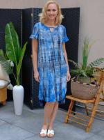 Denim Friendly Tie Dye Keyhole Dress - 4