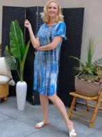 Denim Friendly Tie Dye Keyhole Dress - 3