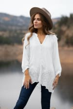 Embroidered Button Front Blouse - 1