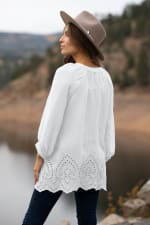 Embroidered Button Front Blouse - 2