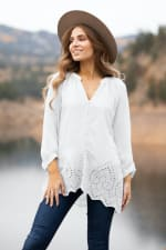 Embroidered Button Front Blouse - 3