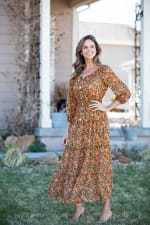Veronica Camel Ditsy Floral Maxi Dress - 6