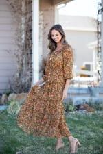 Veronica Camel Ditsy Floral Maxi Dress - 7