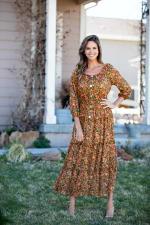 Veronica Camel Ditsy Floral Maxi Dress - 1