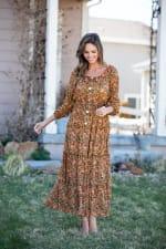 Veronica Camel Ditsy Floral Maxi Dress - 3