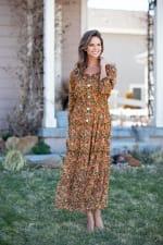 Veronica Camel Ditsy Floral Maxi Dress - 5