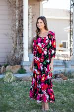 Veronica Blurred Floral Print Peasant Dress - 4