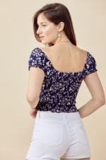 Smock Top With Puff Sleeves In Ditsy Floral Blouse - 2