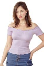 Off Shoulder Top All Over Shirred Blouse Top - 3