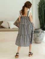 Meringue Summer Gingham Black Dress  - Plus - 2