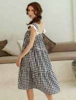 Meringue Summer Gingham Black Dress - 3
