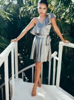 Wrap Style Ruffle Olive Dress - 1