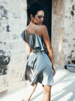 Wrap Style Ruffle Olive Dress - 2