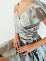 Wrap Style Ruffle Olive Dress - 3