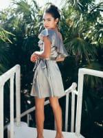 Wrap Style Ruffle Olive Dress - 5