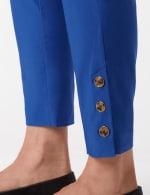 Tortoise Shell Button Ankle Pants - Royal - Detail