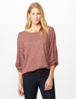 Twist Sleeve Scoop Neck Hacci with Shirttail - Rose - Front