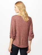 Twist Sleeve Scoop Neck Hacci with Shirttail - Rose - Back
