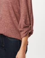 Twist Sleeve Scoop Neck Hacci with Shirttail - Rose - Detail