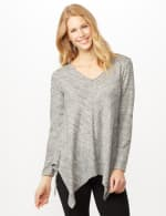 V-Neck Hacci Sharkbite Hem Knit Top - Heather Gray - Front