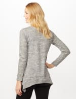 V-Neck Hacci Sharkbite Hem Knit Top - Heather Gray - Back