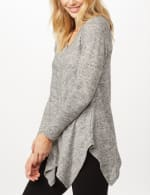 V-Neck Hacci Sharkbite Hem Knit Top - Heather Gray - Detail