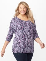 Grommet Sleeve Abstract Knit Top - White/Silver - Front
