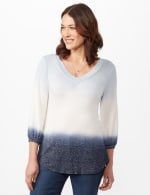 V-Neck  Hacci Dip Dye Knit Top - Blue - Front