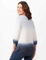 V-Neck  Hacci Dip Dye Knit Top - Blue - Back