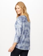 Drop Shoulder Tie Dye Hi-Lo Knit Top - Blue - Back