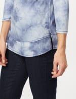 Drop Shoulder Tie Dye Hi-Lo Knit Top - Blue - Detail