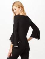 Rhinestone Bell Sleeve Knit Top - Black - Back