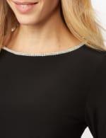 Rhinestone Bell Sleeve Knit Top - Black - Detail