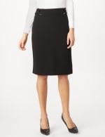 Faux Buckle Pencil Skirt - Black - Detail