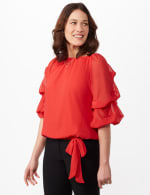 Tier Sleeve On or Off Shoulder Woven Top with Waist Tie - N Winter Coral - Front