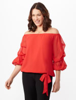 Tier Sleeve On or Off Shoulder Woven Top with Waist Tie - N Winter Coral - Detail