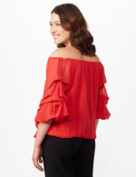 Tier Sleeve On or Off Shoulder Woven Top with Waist Tie - N Winter Coral - Back