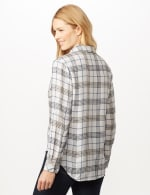 Long Sleeve Plaid Woven Top with Roll Tabs - Ivory - Back
