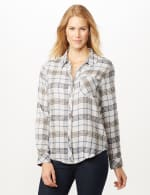 Long Sleeve Plaid Woven Top with Roll Tabs - Ivory - Detail
