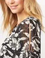 Floral Clip Dot Woven Top - Black/White - Detail