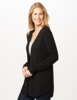 Long Sleeve Ottoman with Pointelle Sleeve and Back - Black - Front
