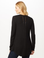 Long Sleeve Ottoman with Pointelle Sleeve and Back - Black - Back