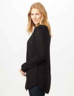 Long Sleeve Ottoman with Pointelle Sleeve and Back - Black - Detail