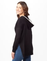 Long Sleeve Pull Over Tunic Hoodie - Black - Back