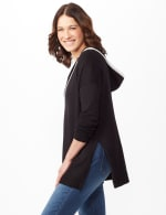Long Sleeve Pull Over Tunic Hoodie - Black - Detail