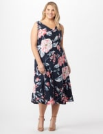 Floral Dress with Crochet Sweater Plus - Black/Coral - Detail