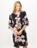 Chacha Sleeve Knit Crepe Floral Sheath Dress - Navy/Lavender - Front